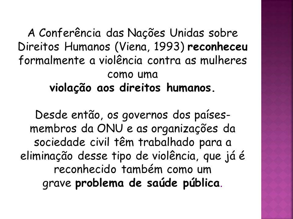 Definição  A Convenção Interamericana para Prevenir, Punir e Erradicar a Violência Contra a Mulher (Convenção de Belém do Pará, 1994) define a violên