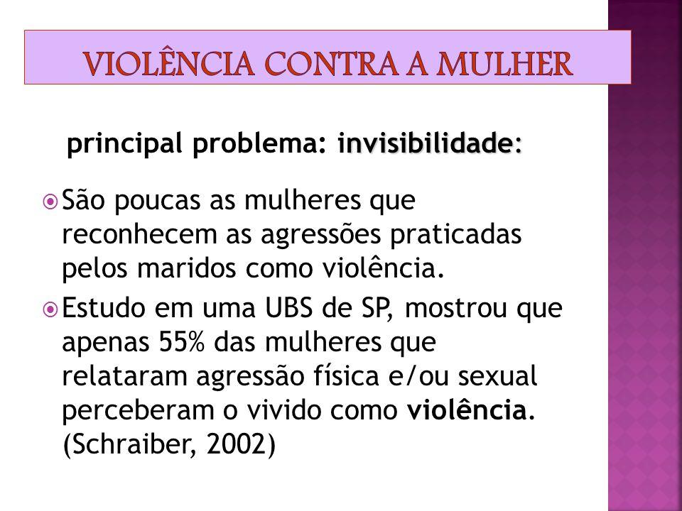 Naturalização da violência Segundo dados da Fundação Perseu Abramo, em 2001 as mulheres só denunciaram a violência sofrida dentro de casa a algum órgã