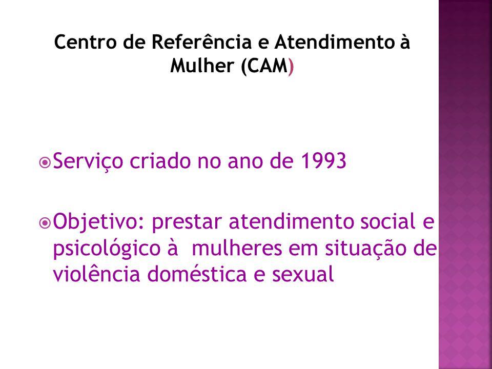  Centro de Referência e Atendimento à Mulher (CAM)  Casa Abrigo Canto de Dália  Programa Rosa Viva