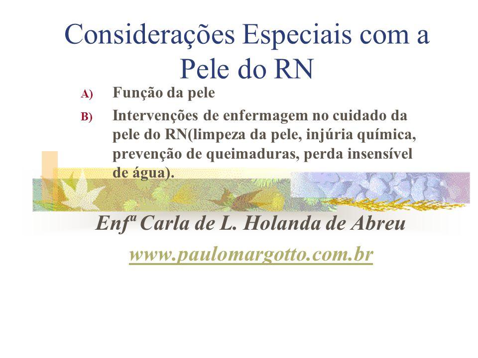 Considerações Especiais com a Pele do RN A) Função da pele B) Intervenções de enfermagem no cuidado da pele do RN(limpeza da pele, injúria química, pr