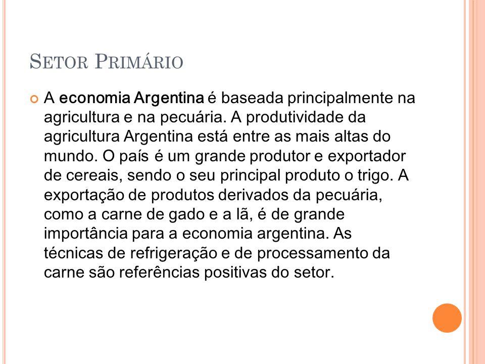 S ETOR SECUNDÁRIO A expansão da indústria argentina ocorreu a partir dos anos 90 graças ao fortalecimento do MERCOSUL.