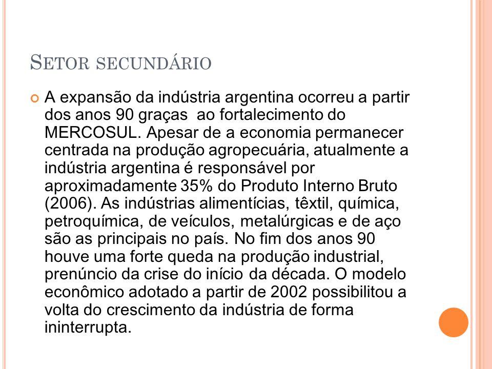 S ETOR SECUNDÁRIO A expansão da indústria argentina ocorreu a partir dos anos 90 graças ao fortalecimento do MERCOSUL. Apesar de a economia permanecer