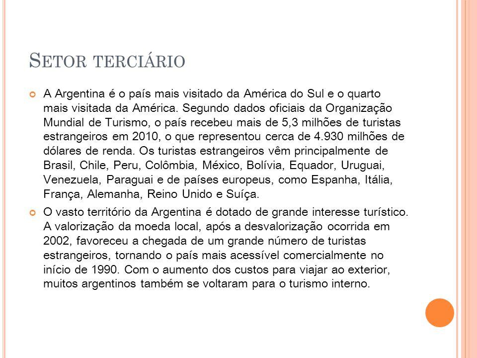 S ETOR TERCIÁRIO Em 2006, o setor respondeu por 7,41% do PIB do país,embora note-se que a saída de residentes argentinos com fins turísticos supere as entradas e equivalha a 12% do Os estrangeiros veem a Argentina como uma área sem conflitos armados, terrorismo e crises sanitárias.