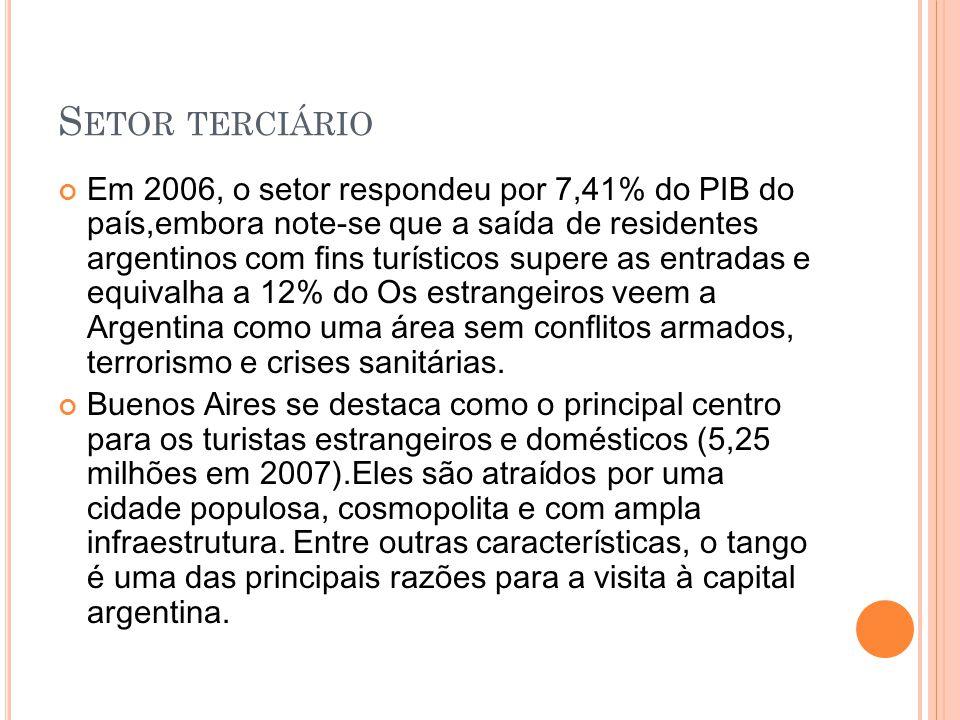 S ETOR TERCIÁRIO Em 2006, o setor respondeu por 7,41% do PIB do país,embora note-se que a saída de residentes argentinos com fins turísticos supere as