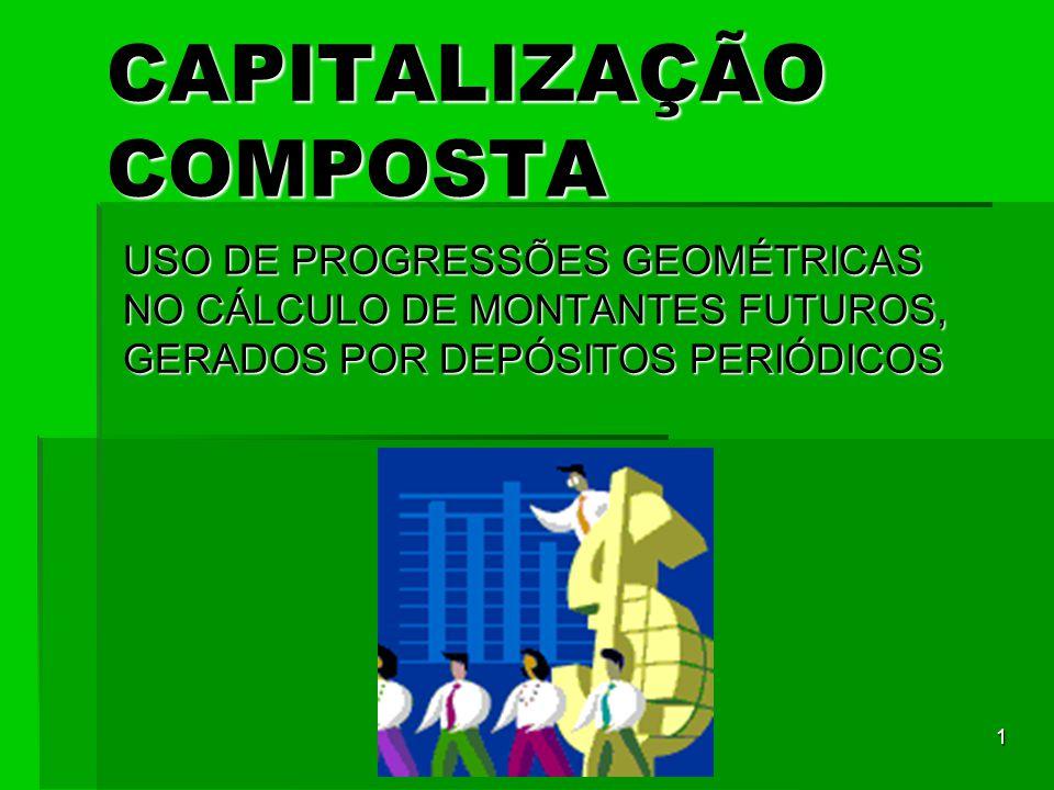 1 CAPITALIZAÇÃO COMPOSTA USO DE PROGRESSÕES GEOMÉTRICAS NO CÁLCULO DE MONTANTES FUTUROS, GERADOS POR DEPÓSITOS PERIÓDICOS
