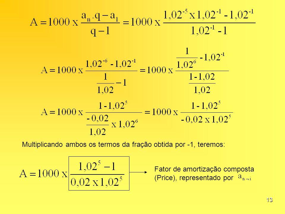 13 Multiplicando ambos os termos da fração obtida por -1, teremos: Fator de amortização composta (Price), representado por