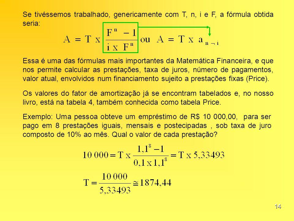 14 Se tivéssemos trabalhado, genericamente com T, n, i e F, a fórmula obtida seria: Essa é uma das fórmulas mais importantes da Matemática Financeira,