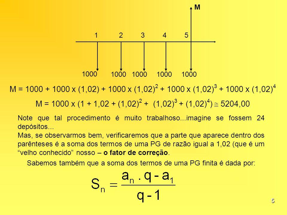 5 12345 1000 M M = 1000 + 1000 x (1,02) + 1000 x (1,02) 2 + 1000 x (1,02) 3 + 1000 x (1,02) 4 M = 1000 x (1 + 1,02 + (1,02) 2 + (1,02) 3 + (1,02) 4 )