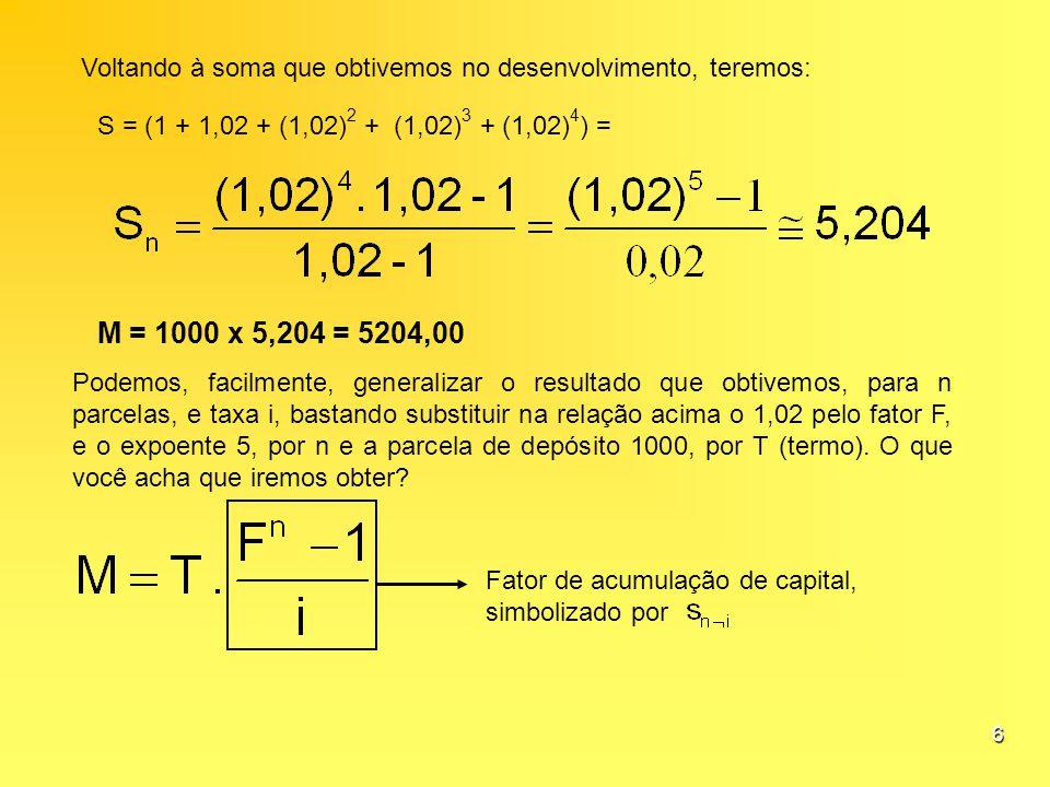 6 Voltando à soma que obtivemos no desenvolvimento, teremos: S = (1 + 1,02 + (1,02) 2 + (1,02) 3 + (1,02) 4 ) = M = 1000 x 5,204 = 5204,00 Podemos, fa