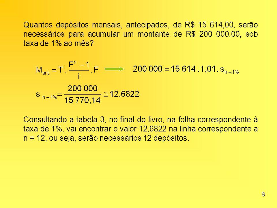 9 Quantos depósitos mensais, antecipados, de R$ 15 614,00, serão necessários para acumular um montante de R$ 200 000,00, sob taxa de 1% ao mês? Consul