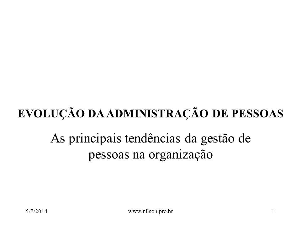 EVOLUÇÃO DA ADMINISTRAÇÃO DE PESSOAS As principais tendências da gestão de pessoas na organização 5/7/20141www.nilson.pro.br