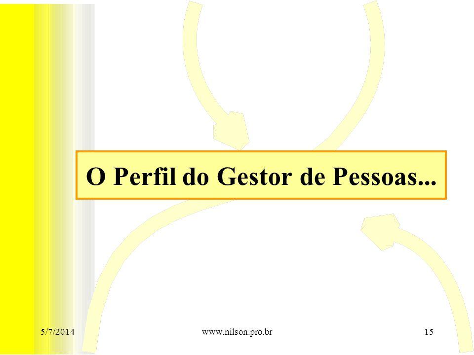 O Perfil do Gestor de Pessoas... 5/7/201415www.nilson.pro.br