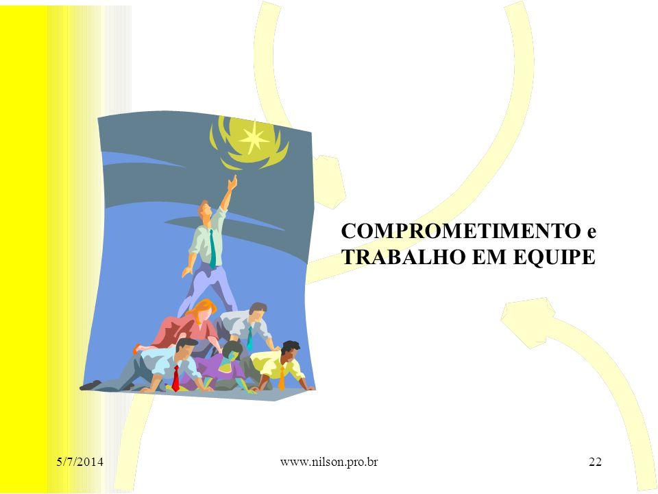 COMPROMETIMENTO e TRABALHO EM EQUIPE 5/7/201422www.nilson.pro.br