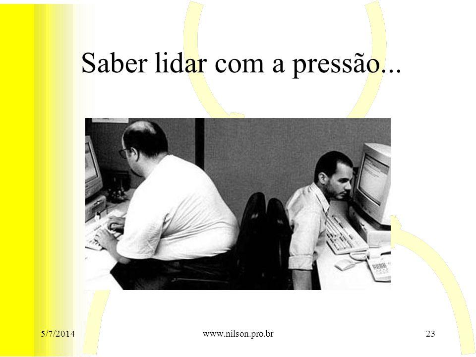 Saber lidar com a pressão... 5/7/201423www.nilson.pro.br