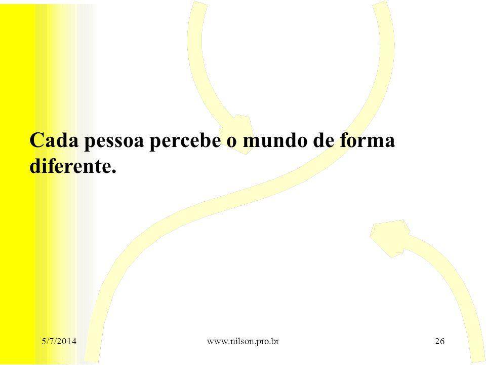 Cada pessoa percebe o mundo de forma diferente. 5/7/201426www.nilson.pro.br