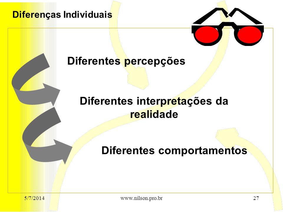 Diferentes interpretações da realidade Diferentes percepções Diferentes comportamentos Diferenças Individuais 5/7/201427www.nilson.pro.br