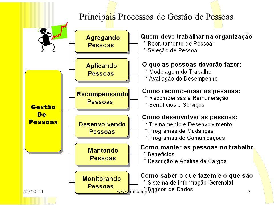 Principais Processos de Gestão de Pessoas 5/7/20143www.nilson.pro.br