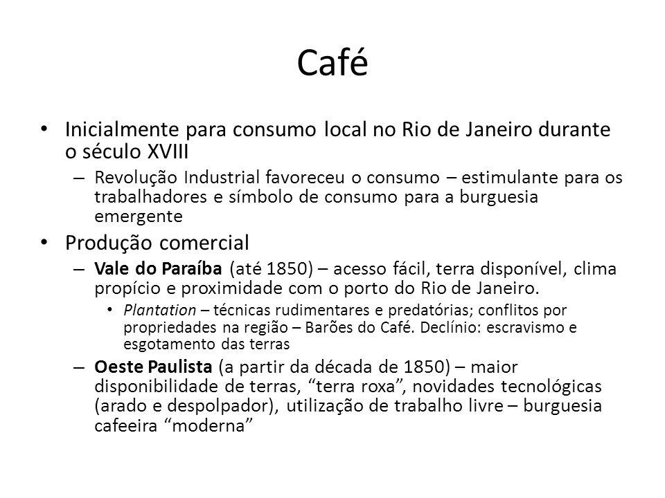 Café • Inicialmente para consumo local no Rio de Janeiro durante o século XVIII – Revolução Industrial favoreceu o consumo – estimulante para os traba
