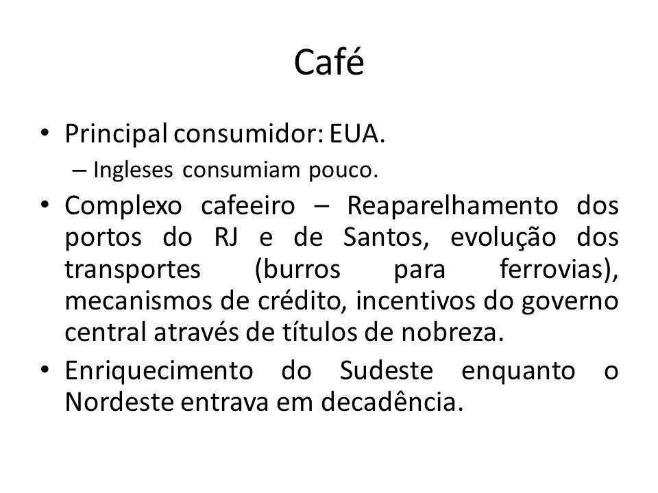 Café • Principal consumidor: EUA. – Ingleses consumiam pouco. • Complexo cafeeiro – Reaparelhamento dos portos do RJ e de Santos, evolução dos transpo