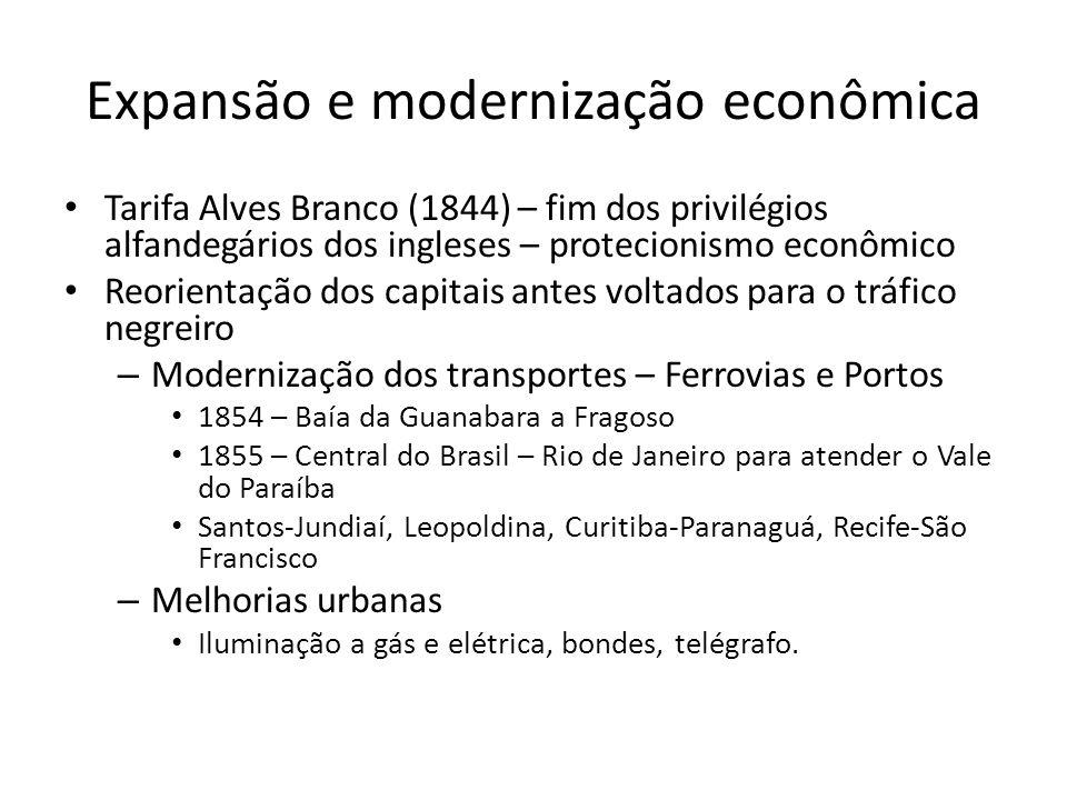 Expansão e modernização econômica • Tarifa Alves Branco (1844) – fim dos privilégios alfandegários dos ingleses – protecionismo econômico • Reorientaç
