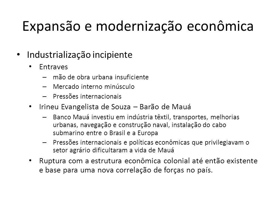 Expansão e modernização econômica • Industrialização incipiente • Entraves – mão de obra urbana insuficiente – Mercado interno minúsculo – Pressões in