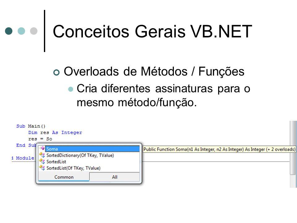 Conceitos Gerais VB.NET Overloads de Métodos / Funções  Cria diferentes assinaturas para o mesmo método/função.