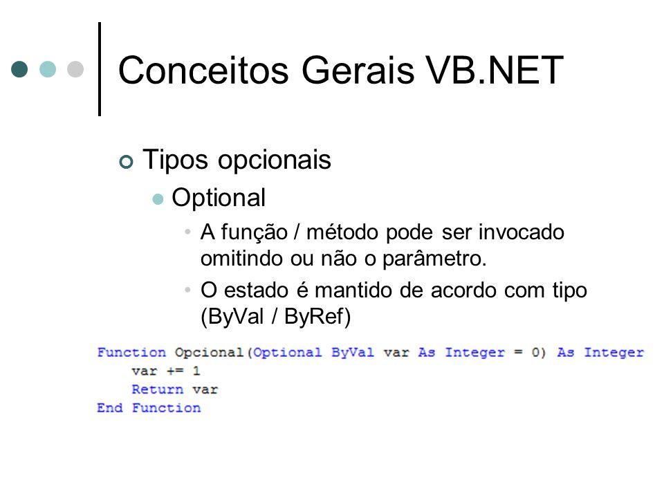 Conceitos Gerais VB.NET Tipos opcionais  Optional •A função / método pode ser invocado omitindo ou não o parâmetro. •O estado é mantido de acordo com