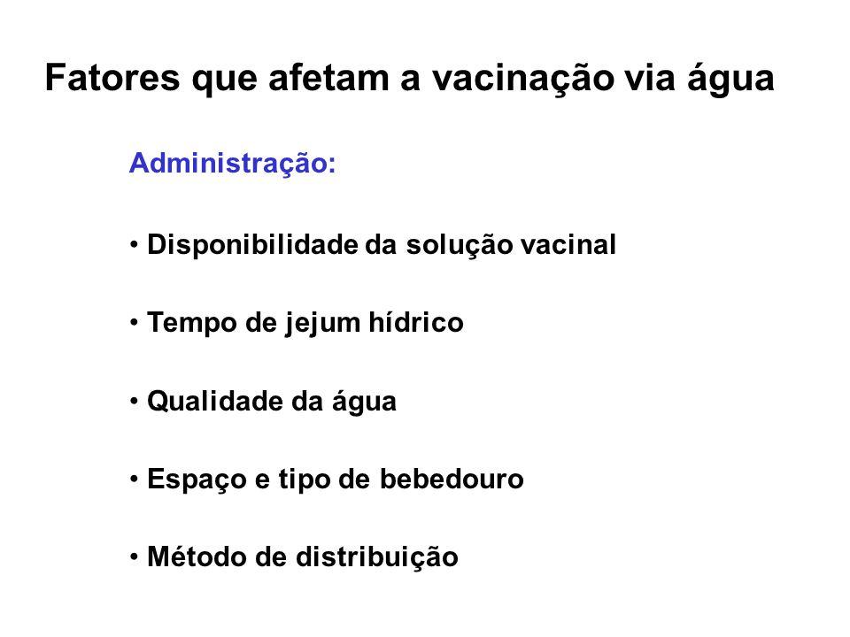 Fatores que afetam a vacinação via água Administração: • Disponibilidade da solução vacinal • Tempo de jejum hídrico • Qualidade da água • Espaço e ti