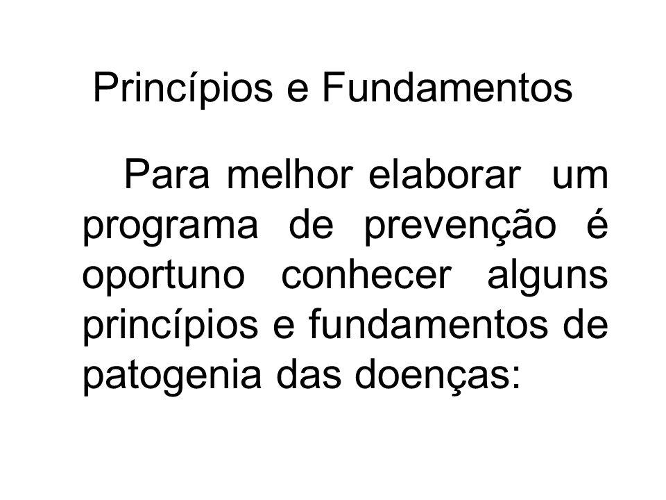 Princípios e Fundamentos Para melhor elaborar um programa de prevenção é oportuno conhecer alguns princípios e fundamentos de patogenia das doenças: