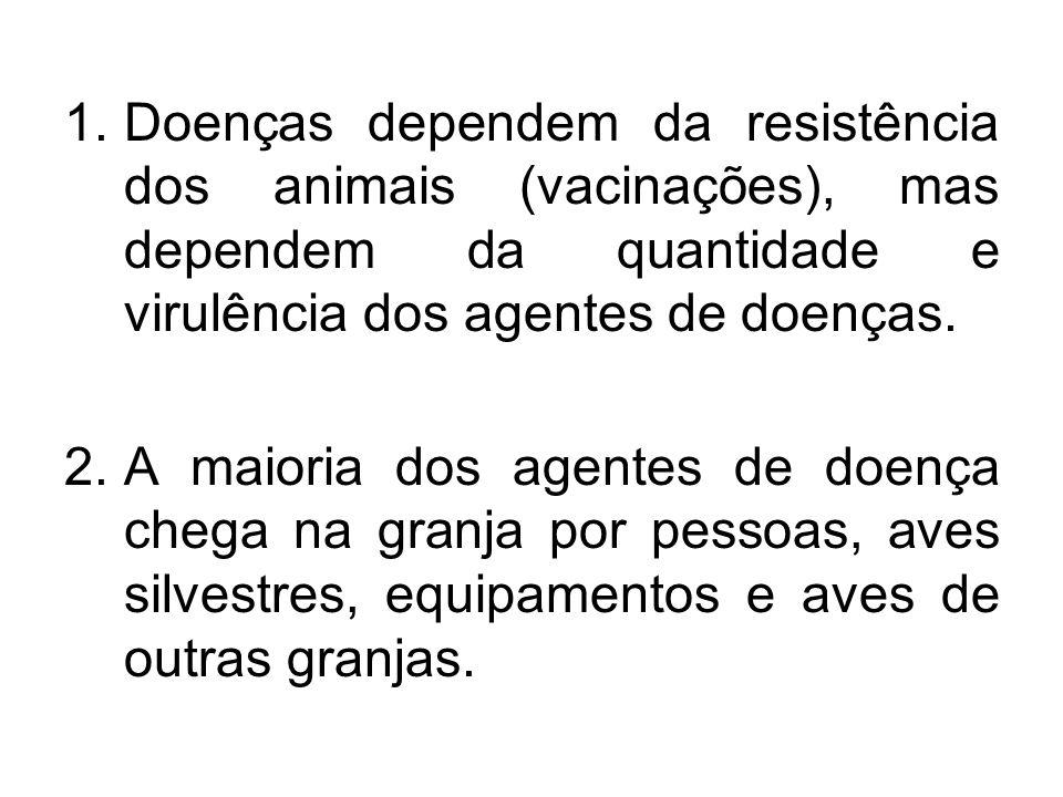 1.Doenças dependem da resistência dos animais (vacinações), mas dependem da quantidade e virulência dos agentes de doenças. 2.A maioria dos agentes de