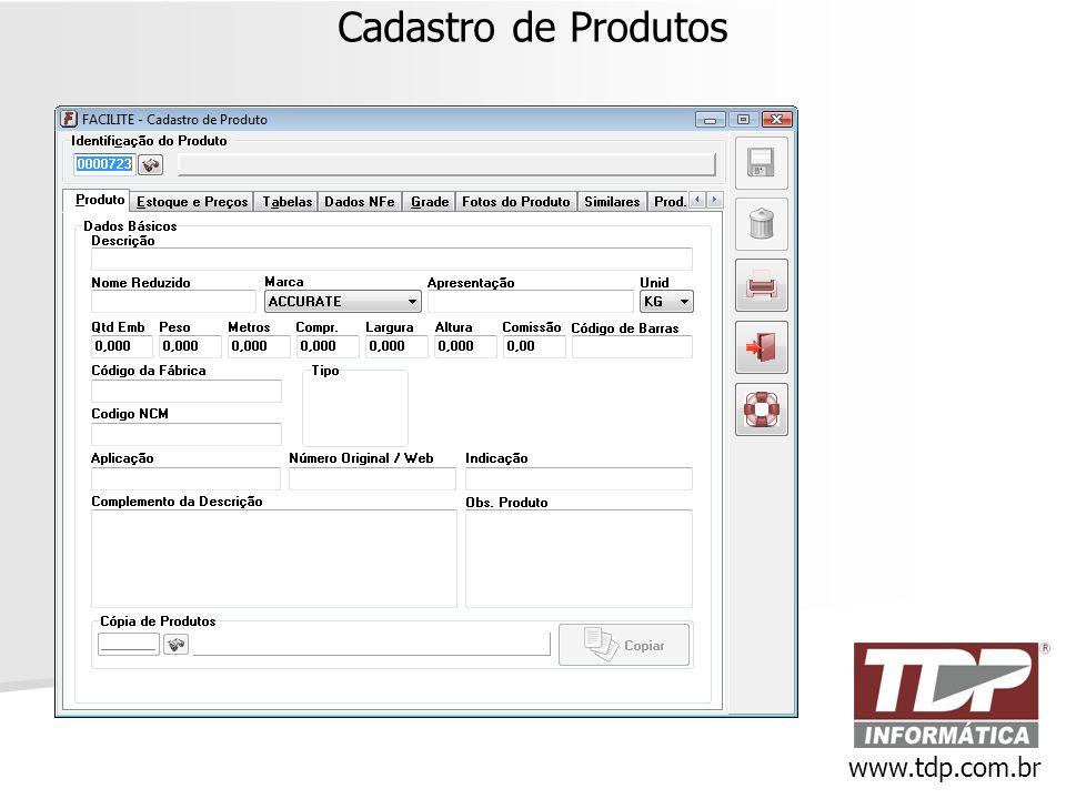Cadastro de Produtos www.tdp.com.br