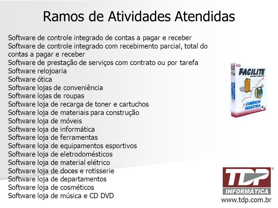 Ramos de Atividades Atendidas Software de controle integrado de contas a pagar e receber Software de controle integrado com recebimento parcial, total