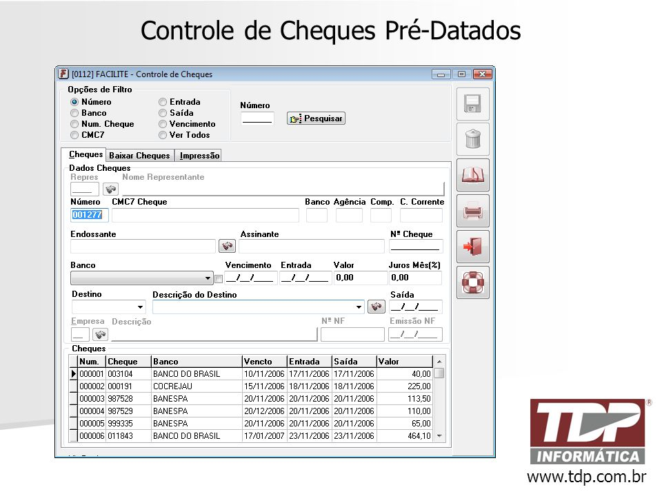 Controle de Cheques Pré-Datados www.tdp.com.br