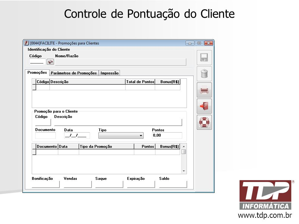 Controle de Pontuação do Cliente www.tdp.com.br