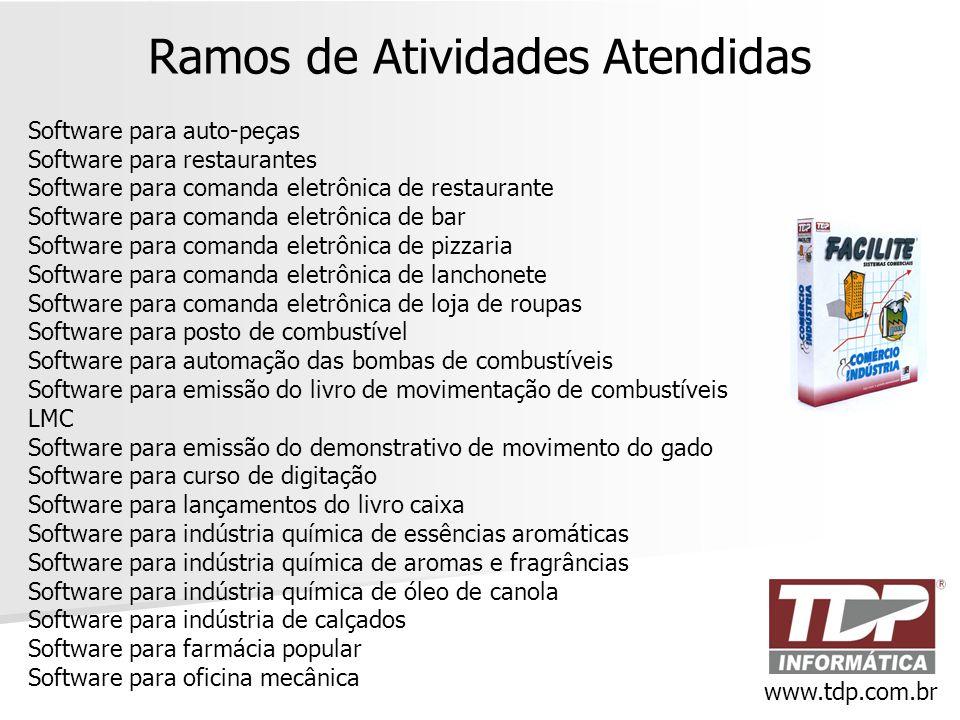 Ramos de Atividades Atendidas Software para auto-peças Software para restaurantes Software para comanda eletrônica de restaurante Software para comand