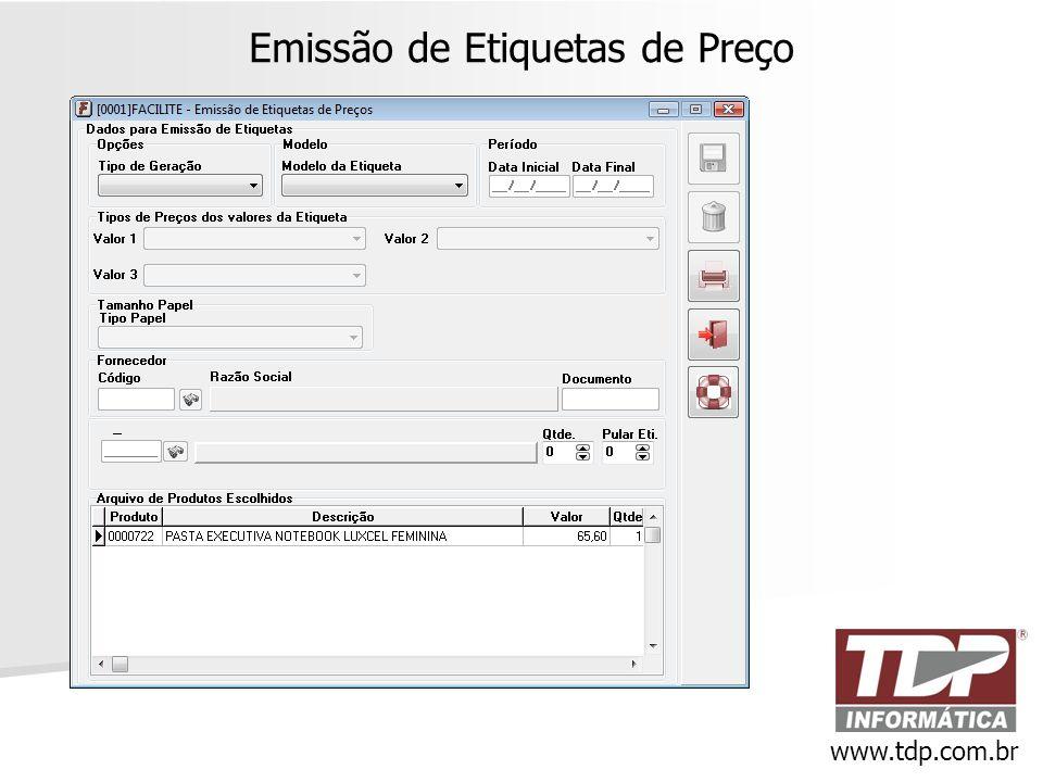 Emissão de Etiquetas de Preço www.tdp.com.br