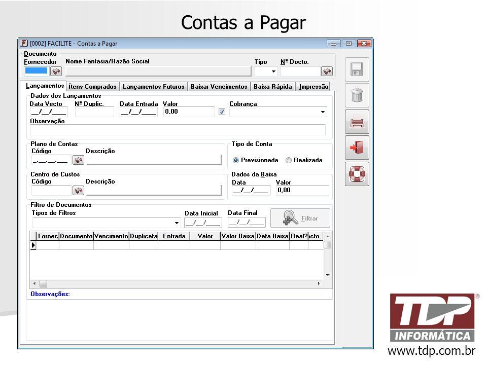 Contas a Pagar www.tdp.com.br