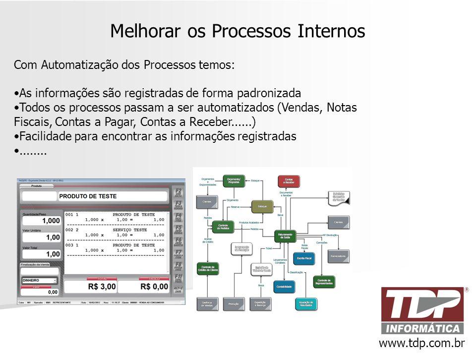 Melhorar os Processos Internos Com Automatização dos Processos temos: •As informações são registradas de forma padronizada •Todos os processos passam
