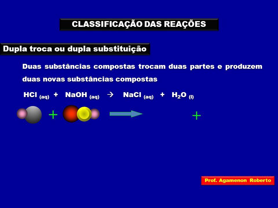 CLASSIFICAÇÃO DAS REAÇÕES HCl (aq) + NaOH (aq)  NaCl (aq) + H 2 O (l) Dupla troca ou dupla substituição Duas substâncias compostas trocam duas partes