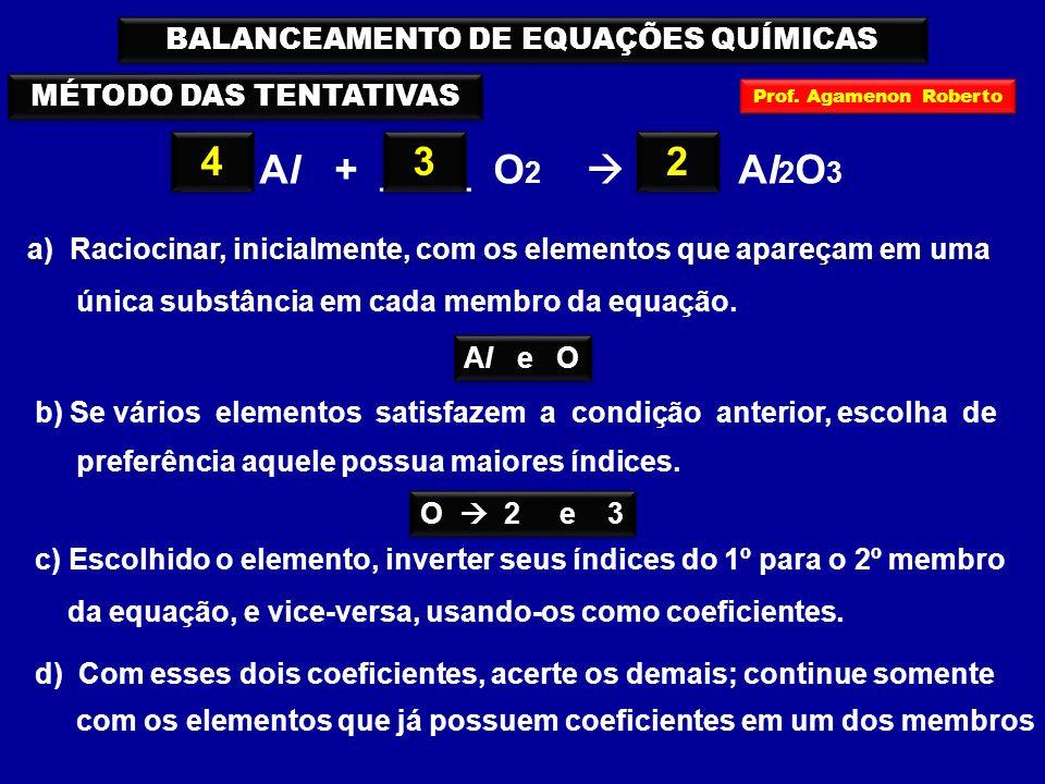 MÉTODO DAS TENTATIVAS ___ Al + ____ O 2  ___ Al 2 O 3 3 3 BALANCEAMENTO DE EQUAÇÕES QUÍMICAS a) Raciocinar, inicialmente, com os elementos que apareçam em uma única substância em cada membro da equação.