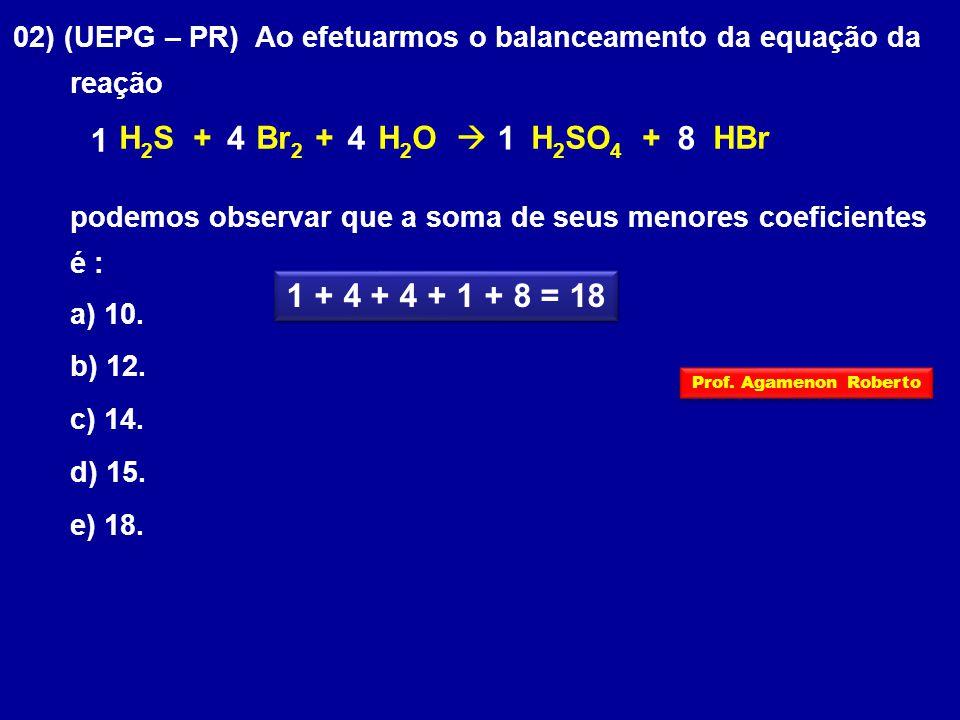 02) (UEPG – PR) Ao efetuarmos o balanceamento da equação da reação H 2 S + Br 2 + H 2 O  H 2 SO 4 + HBr podemos observar que a soma de seus menores coeficientes é : a) 10.