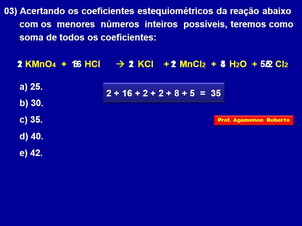 03) Acertando os coeficientes estequiométricos da reação abaixo com os menores números inteiros possíveis, teremos como soma de todos os coeficientes: KMnO 4 + HCl  KCl + MnCl 2 + H 2 O + Cl 2 a) 25.