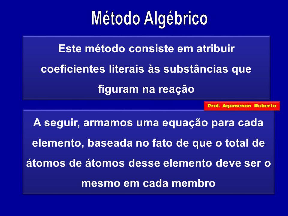 Este método consiste em atribuir coeficientes literais às substâncias que figuram na reação A seguir, armamos uma equação para cada elemento, baseada no fato de que o total de átomos de átomos desse elemento deve ser o mesmo em cada membro Prof.