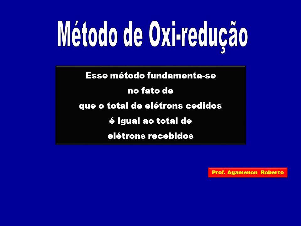 Esse método fundamenta-se no fato de que o total de elétrons cedidos é igual ao total de elétrons recebidos Esse método fundamenta-se no fato de que o total de elétrons cedidos é igual ao total de elétrons recebidos Prof.