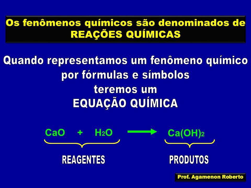 Os fenômenos químicos são denominados de REAÇÕES QUÍMICAS Os fenômenos químicos são denominados de REAÇÕES QUÍMICAS H2OH2OCaO+ Ca(OH) 2 Prof.