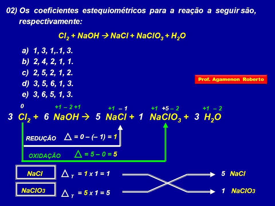 02) Os coeficientes estequiométricos para a reação a seguir são, respectivamente: Cl 2 + NaOH  NaCl + NaClO 3 + H 2 O a) 1, 3, 1,.1, 3. b) 2, 4, 2, 1