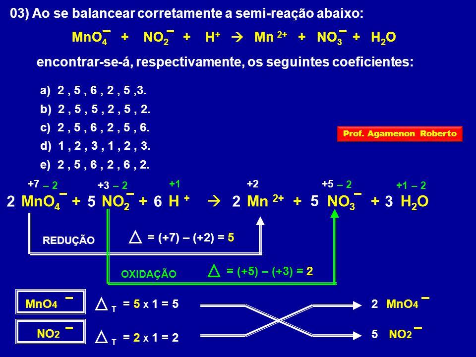 03) Ao se balancear corretamente a semi-reação abaixo: MnO 4 + NO 2 + H +  Mn 2+ + NO 3 + H 2 O encontrar-se-á, respectivamente, os seguintes coeficientes: a) 2, 5, 6, 2, 5,3.