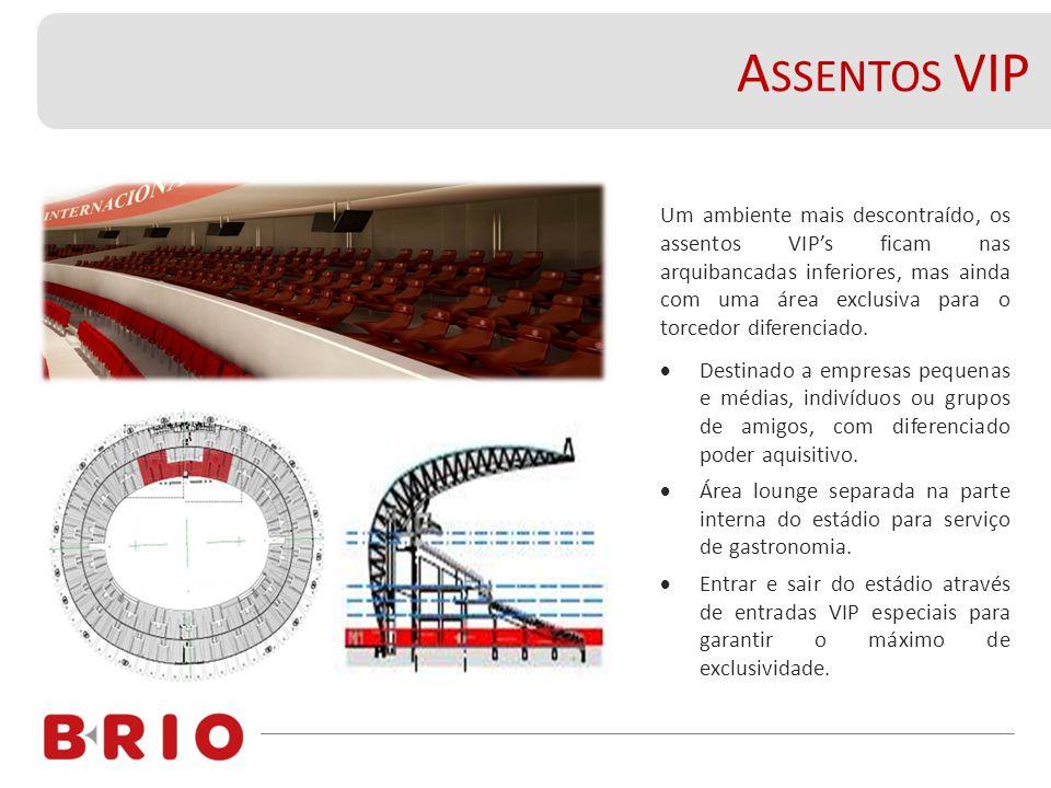 A SSENTOS VIP Um ambiente mais descontraído, os assentos VIP's ficam nas arquibancadas inferiores, mas ainda com uma área exclusiva para o torcedor diferenciado.