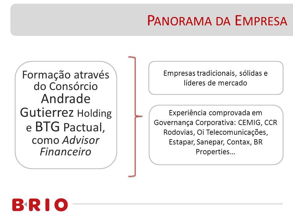Formação através do Consórcio Andrade Gutierrez Holding e BTG Pactual, como Advisor Financeiro P ANORAMA DA E MPRESA Empresas tradicionais, sólidas e