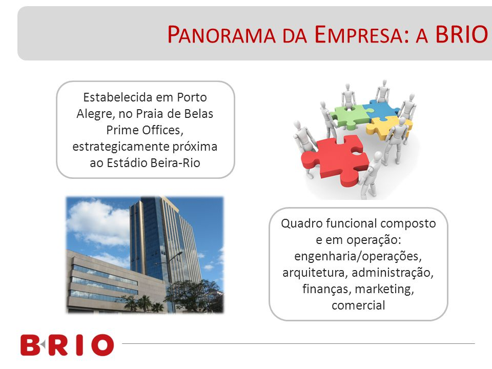 P ANORAMA DA E MPRESA : A BRIO Estabelecida em Porto Alegre, no Praia de Belas Prime Offices, estrategicamente próxima ao Estádio Beira-Rio Quadro fun